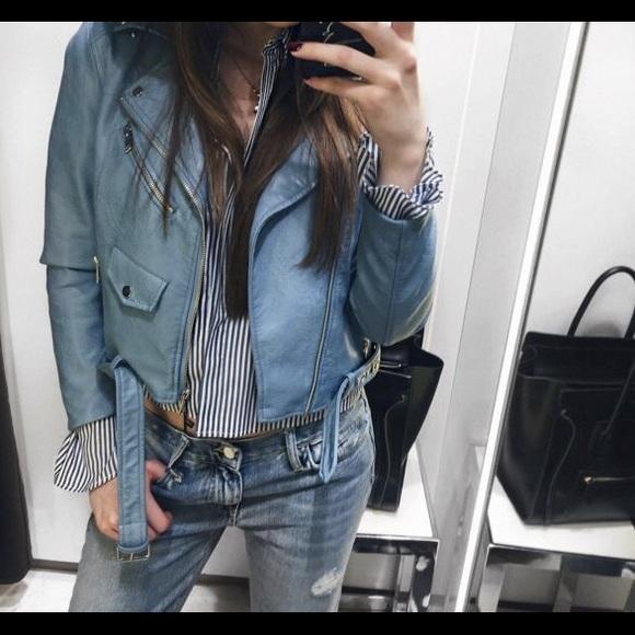 Zara Jackets & Blazers - Zara Sky blue Faux Leather Biker Moto Jacket sz M